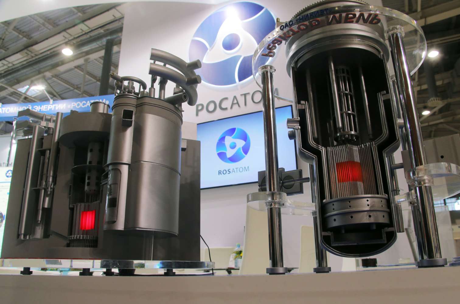 "Models of nuclear reactors BREST and MBIR at Rosatom's stand at the 11th National Forum and Exhibition ""Goszakaz - 2015"" (state procurement) at the VDNKh national economic achievements exhibition in Moscow."