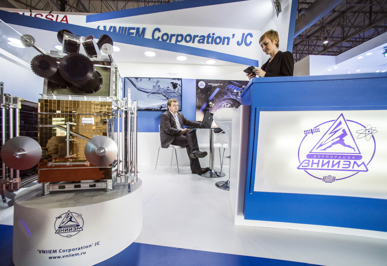 Canopus-B space vehicle mock-up displayed by the VNIIEM Corporation mount at the 2015 Dubai Airshow.