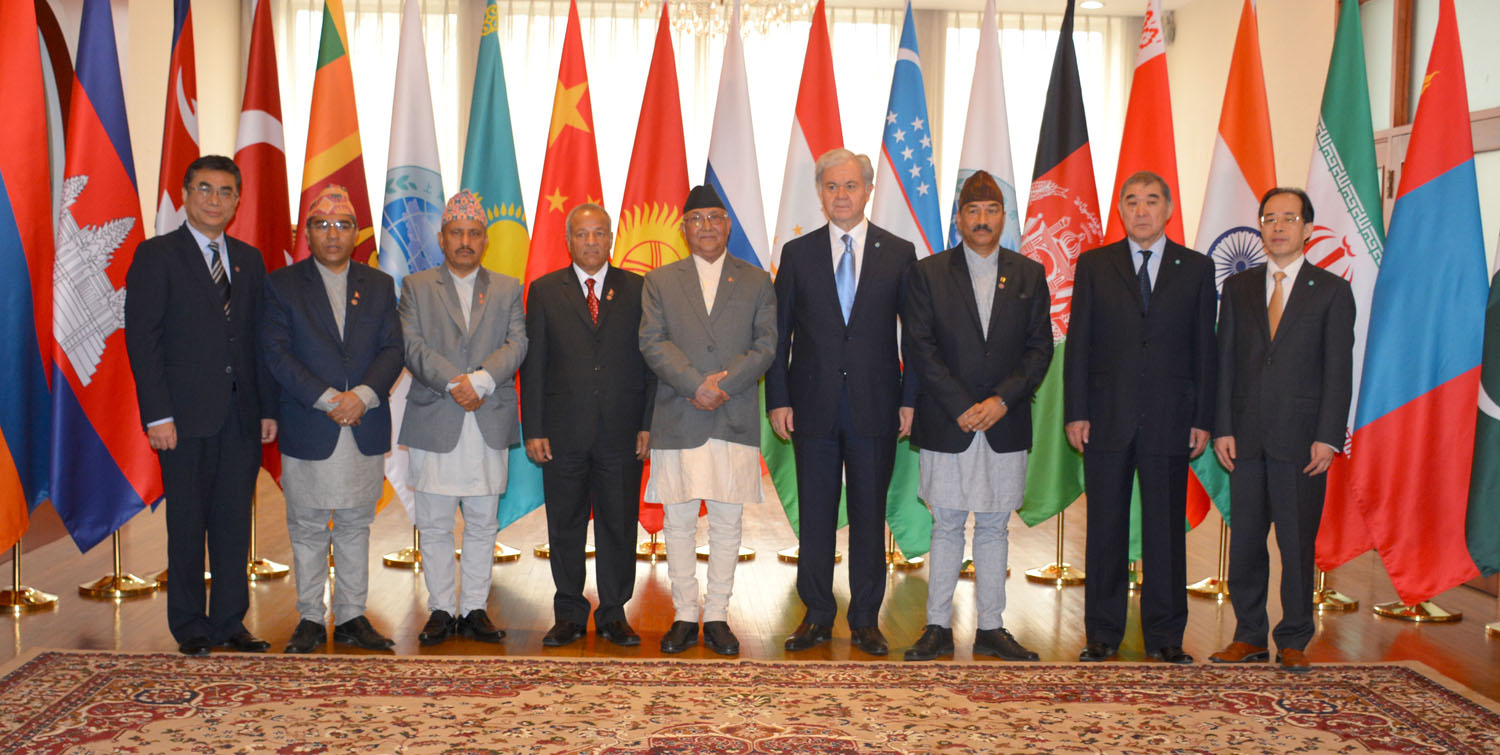 Prime Minister K.P. Sharma Oli of Nepal (5th left) at the SCO headquarters in Beijing.