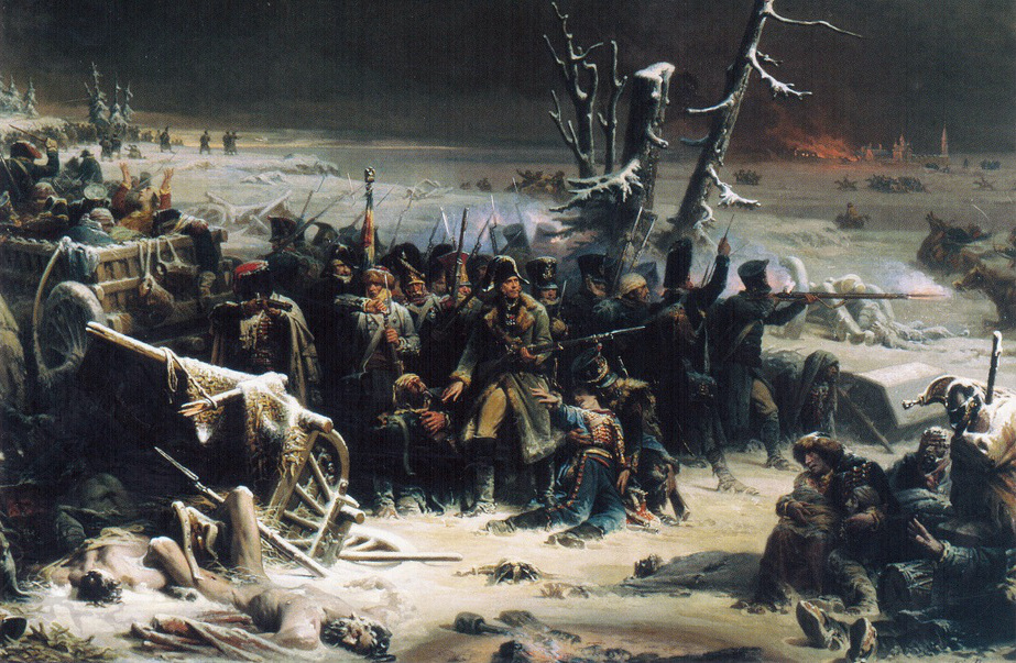 Adolphe Yvon. Marshal Ney supporting the rear guard during the retreat from Moscow (1856)