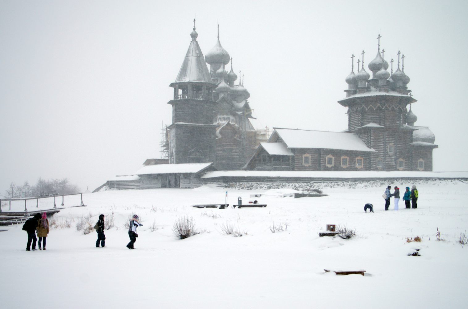 The Kizhi Pogost in Karelia has two wooden churches and an 18th century octagonal bell tower.