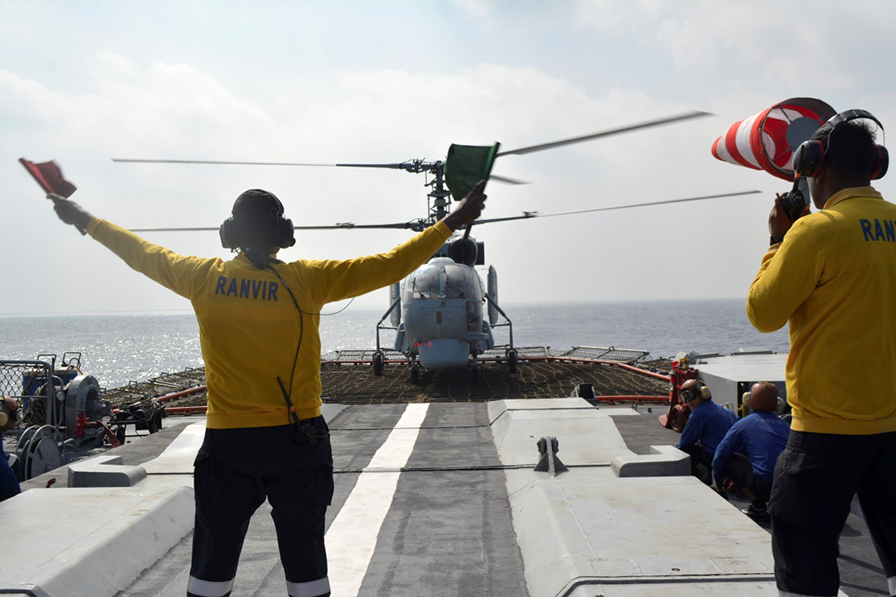 The drills involved ship-based helicopters.