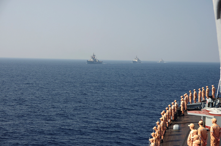 The Indian Navy was represented by INS Ranvir a guided missile destroyer, INS Satpura an indigenous frigate and INS Kamorta an indigenous Anti-Submarine Warfare (ASW) corvette.