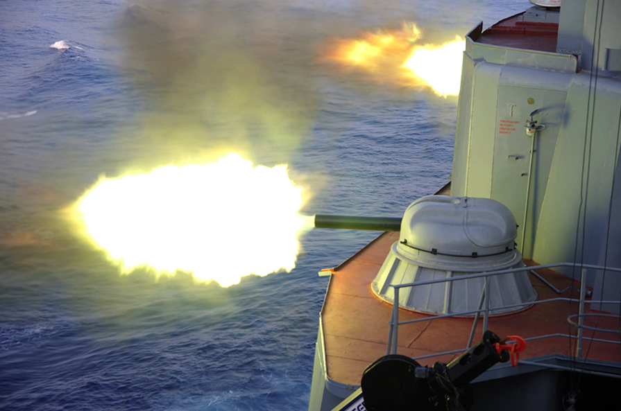 In the course of the drills, the participants fired reactive depth charges at a simulated enemy submarine in the Bay of Bengal.