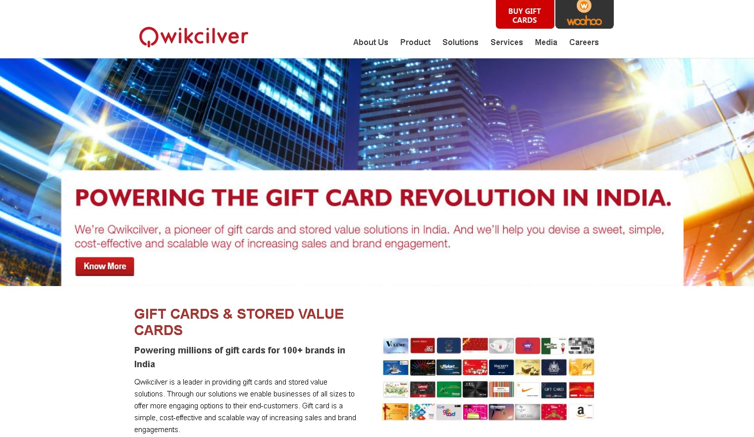 Main page of the Qwikcilver website qwikcilver.com