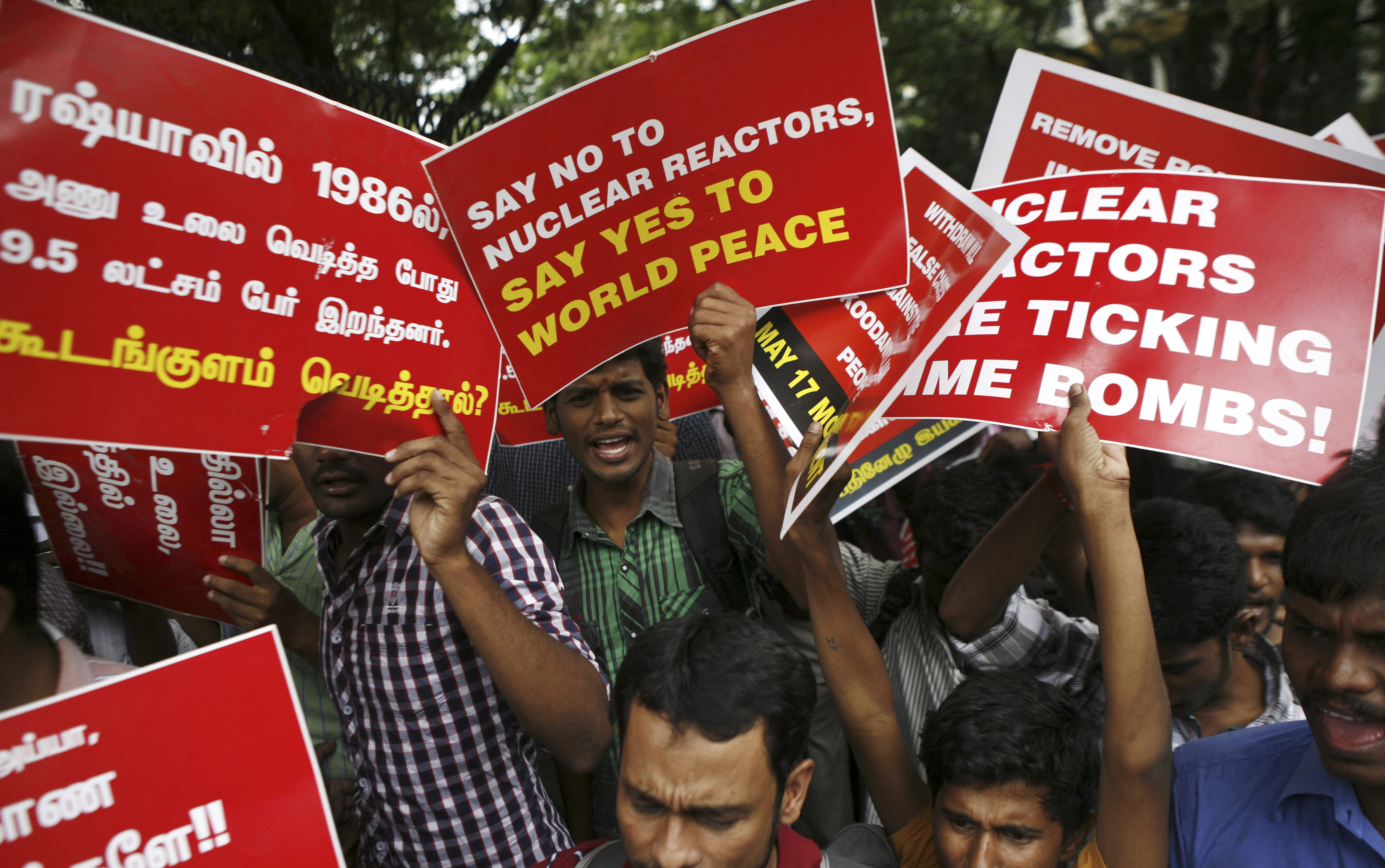 Anti-nuclear energy protestors in Chennai. Source: AP