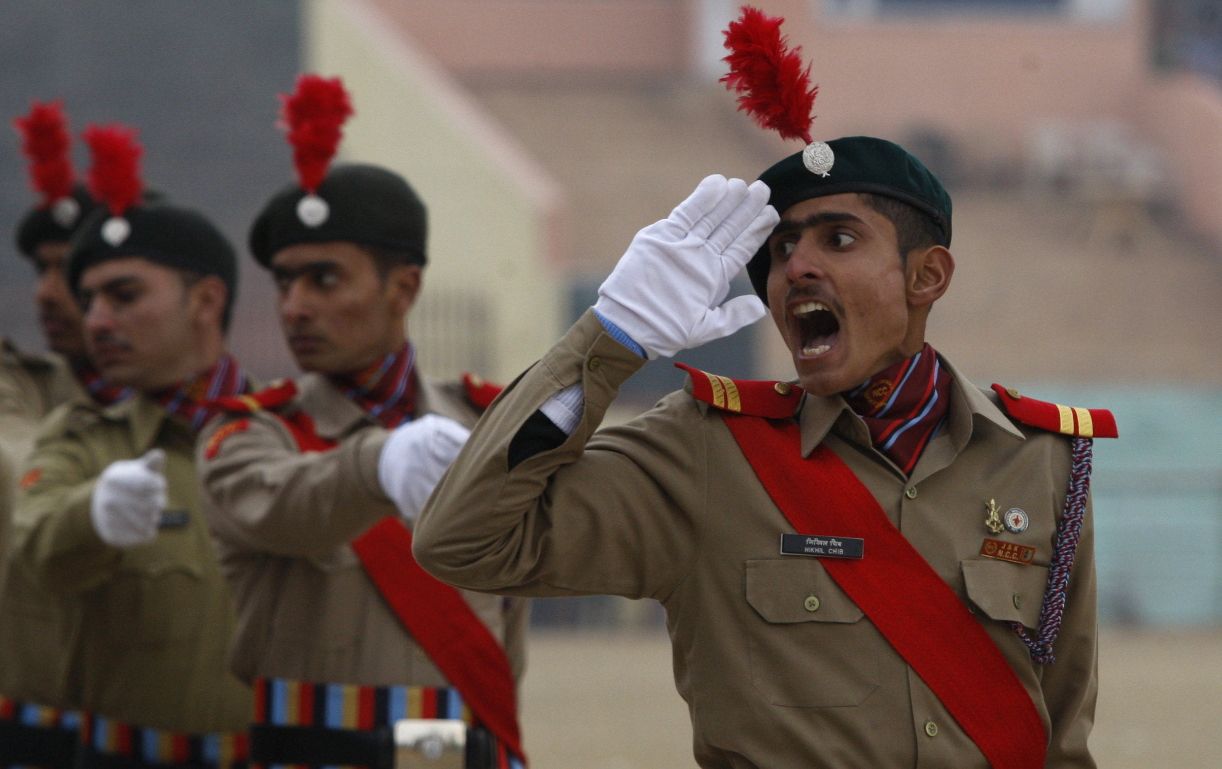 A National Cadet Corps members during a Republic Day parade in Jammu, 2015.