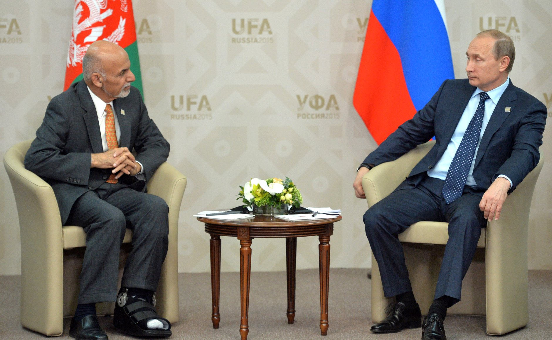 Vladimir Putin with Ashraf Ghani at the 2015 SCO summit in Ufa. Russia has repeatedly expressed its backing for the Kabul government. Source: Kremlin.ru