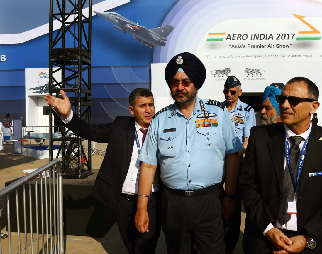 Indian Air Chief Marshal Birender Singh Dhanoa at Aero India 2017.