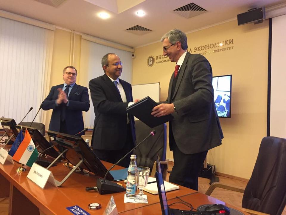 Pankaj Saran (C) at the Higher School of Economics. Source: Embassy of India in Russia