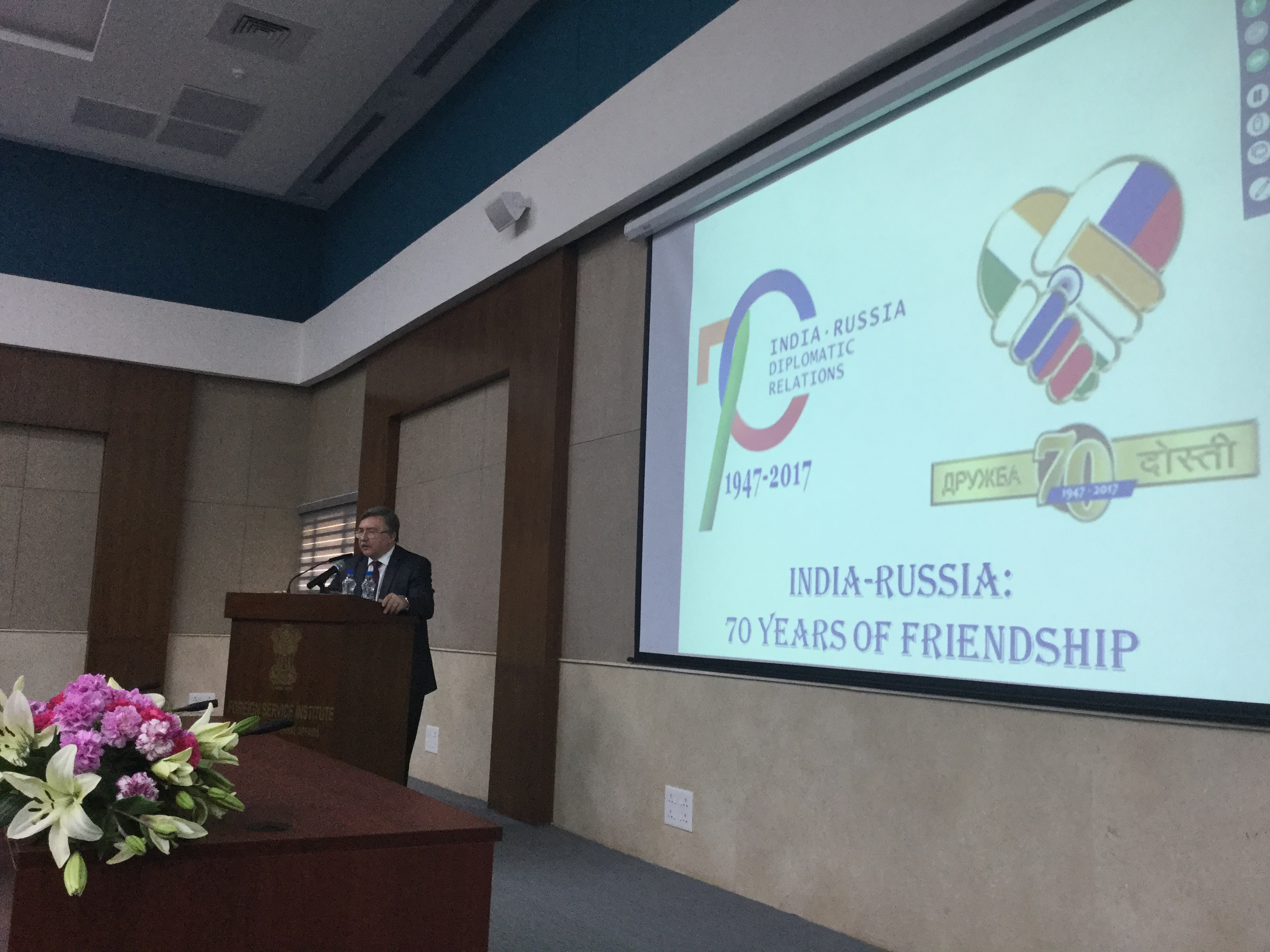 Mikhail Ulyanov at the Foreign Service Institute in New Delhi. Source: RIR