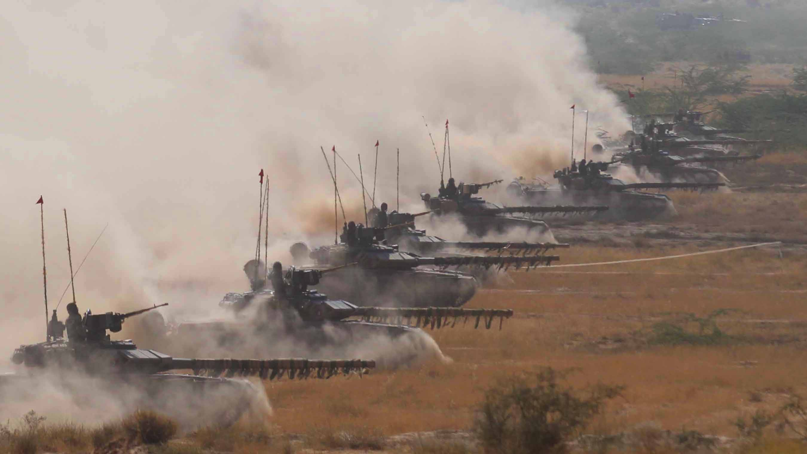 T-90 tanks participate in the Sudershan Shakt exercise in Rajasthan in 2011. Source: Getty Images