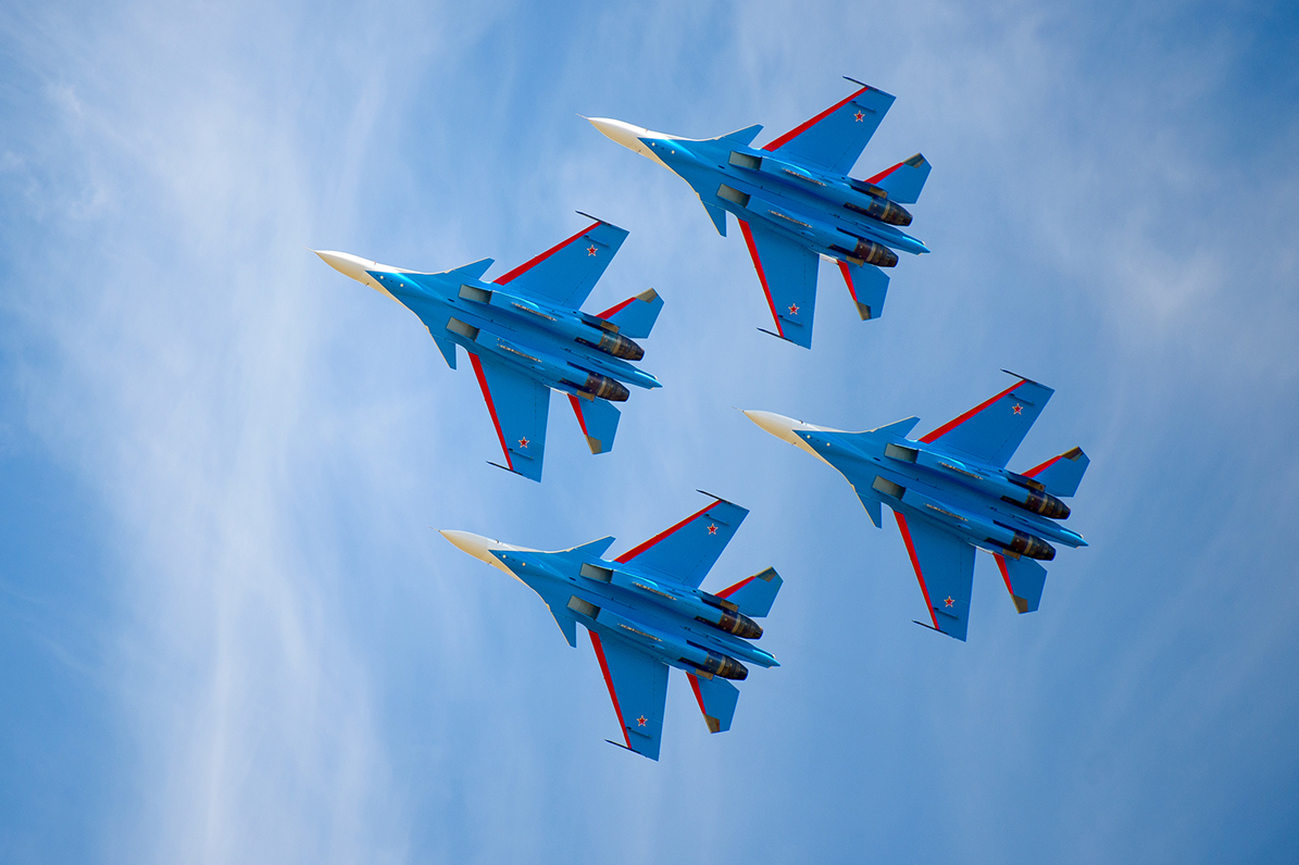 The aerobatic team is based at the Kubinka Air Base in the Moscow Region.