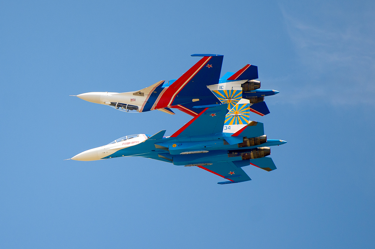 The Russian Knights are one of the few aerobatic teams in the world that fly aircraft that completely retain combat capabilities.