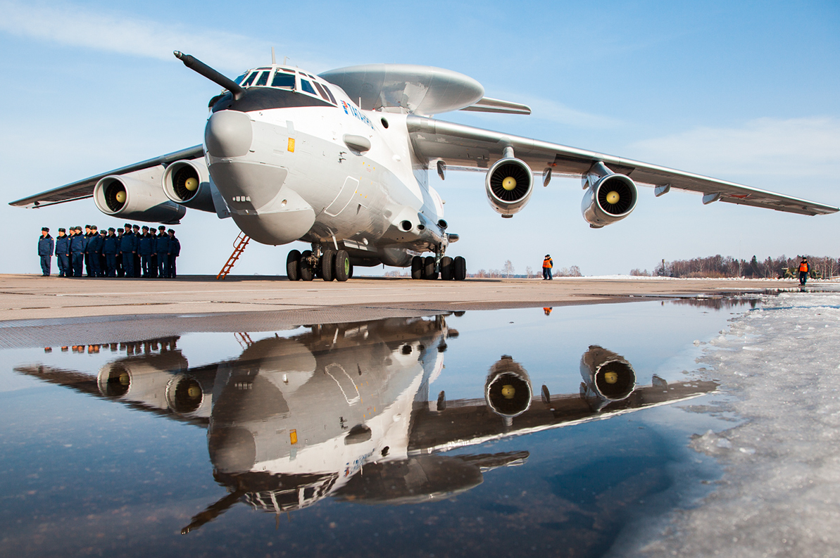 The Beriev A-50 is an airborne early warning and control (AWACS) aircraft based on the Il-76 transport jet.