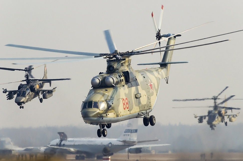 Mi-26 accompanied by two Ka-52 combat helicopters. Source: Russian Helicopters