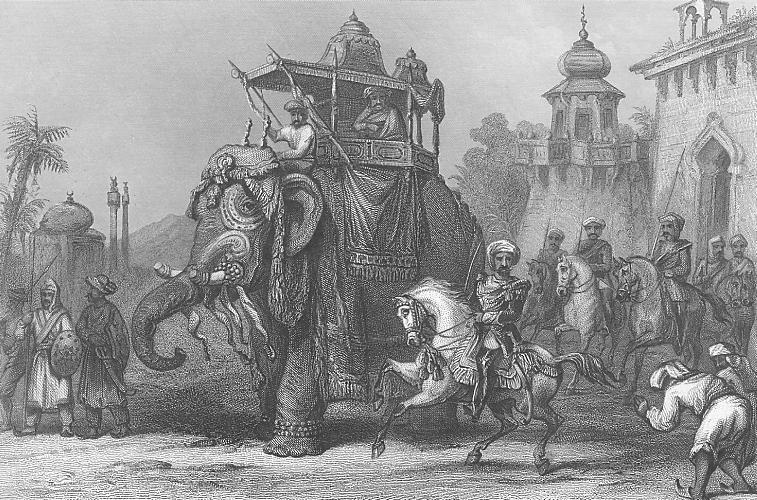 Nana Sahib with his escort. Steel engraved print of 1860