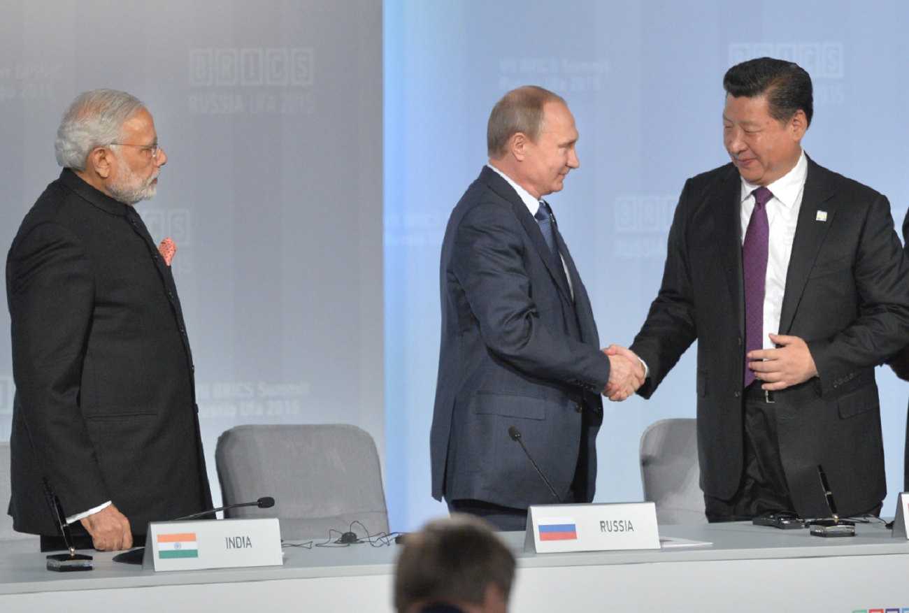 Narendra Modi, Vladimir Putin and Xi Jinping during the 2015 BRICS summit in Ufa. Source: Alexei Druzhinin/RIA Novosti