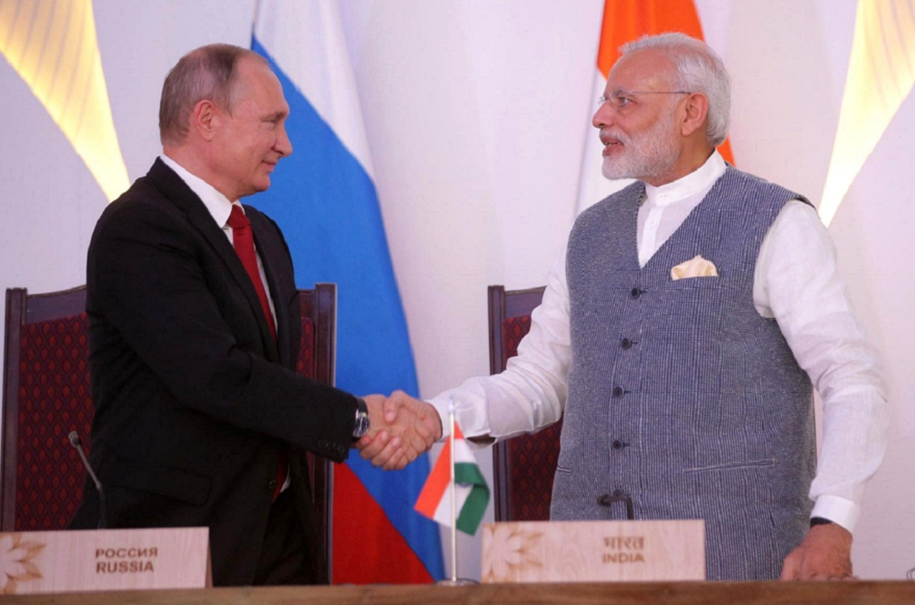 Vladimir Putin and Narendra Modi praise the strategic partnership between Moscow and New Delhi. Source: Kremlin.ru