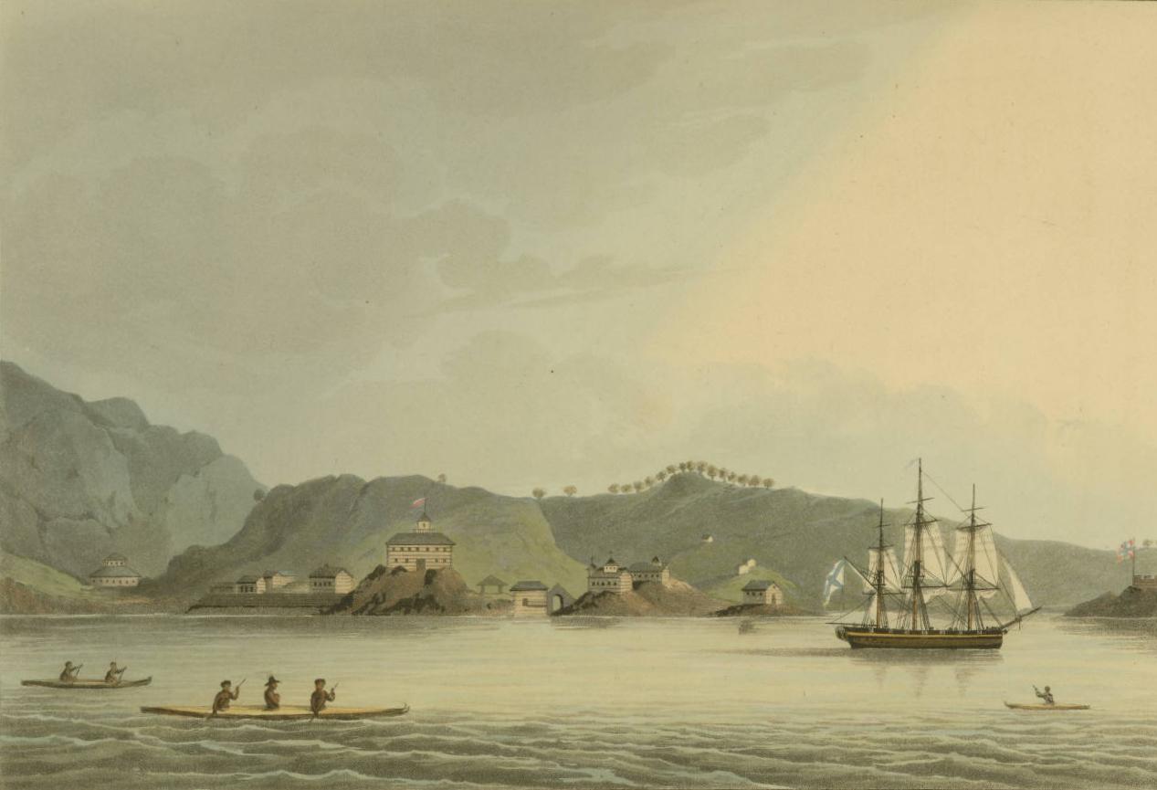 Pelabuhan St. Paul di Pulau Cadiack, dengan kapal perang Rusia, Neva. Dilukis tahun 1814.
