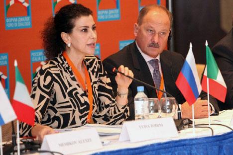 Luisa Todini con Vladimir Dmitriev, presidente di Vnesheconombank. Insieme presiedono il Foro di Dialogo italo-russo delle società civili (Foto: Ufficio stampa)