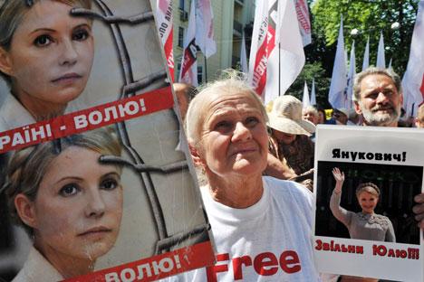 Sostenitori di Yulia Tymoshenko in piazza per la sua liberazione (Foto: AFP/East News)
