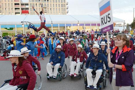 La cerimonia dell'alzabandiera russo a Londra durante i Giochi Paraolimpici 2012 (Foto: Ria Novosti)