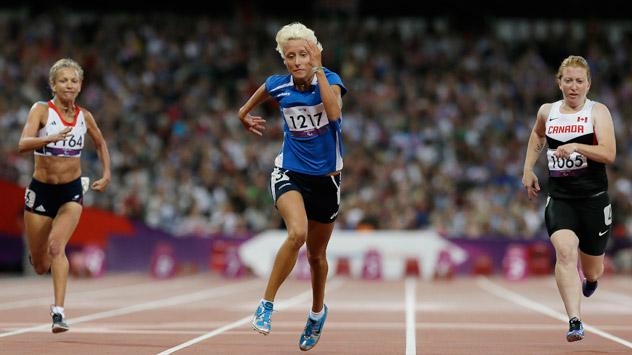 Oxana Corso durante la finale dei 100 m femminili T35 alle Paraolimpiadi di Londra 2012, dove ha conquistato l'argento (Foto: AP)