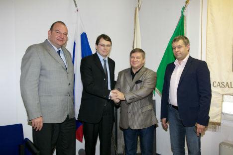 Un momento dell'incontro con la delegazione russa proveniente da Ekaterinburg (Foto: Ufficio Stampa)