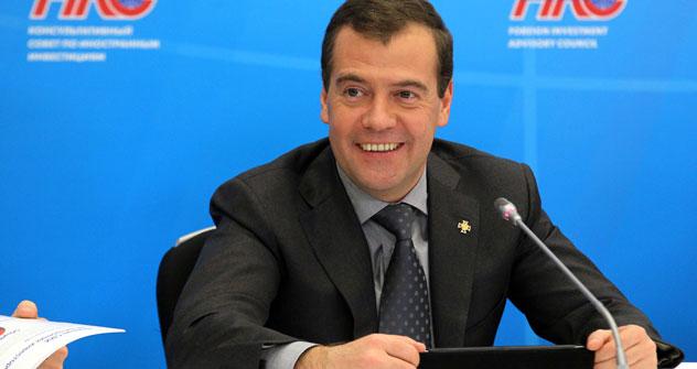 Il primo ministro russo Dmitri Medvedev ha incontrato diversi top manager stranieri durante il Foreign Investment Advisory Council (Foto: Ria Novosti)