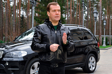 Il premier russo Dmitri Medvedev, grande fan di Twitter (Foto: Ap)