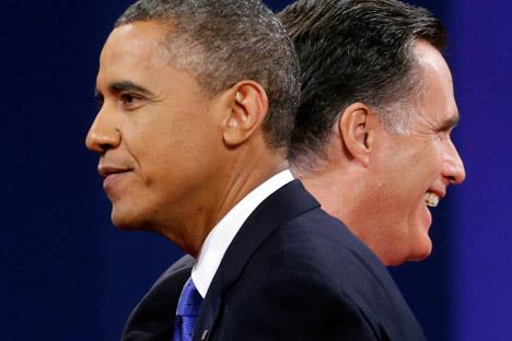 I candidati delle presidenziali americane a confronto: in primo piano Barack Obama, rieletto alla Casa Bianca. Sullo sfondo lo sfidante repubblicano Mitt Romney (Foto: Ap)