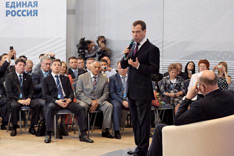 I futuri leader politici studieranno materie teoriche come sociologia politica, storia delle teorie socio-politiche, filosofia, gestione politica e analisi politica moderna. Nella foto il primo ministro Dmitri Medvedev (Credit: Kommersant)