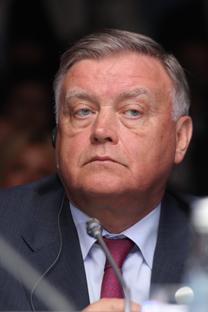 Il presidente delle Ferrovie Russe Vladimir Yakunin ha partecipato all'incontro milanese in videoconferenza (Foto: Itar-Tass)