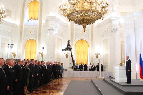 Il Presidente russo Vladimir Putin durante il suo discorso in Parlamento (Foto: Ria Novosti)