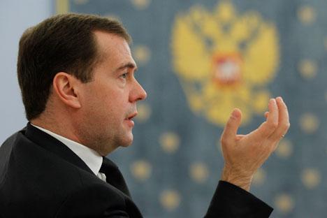 Il premier russo Dmitri Medvedev ha fatto il punto sulla situazione economica del Paese (Foto: Itar-Tass)