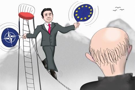 La Georgia ha bisogno di trovare il proprio equilibrio tra Est e Ovest, evitando di ripetere gli errori del passato (Vignetta di Niyaz Karim)