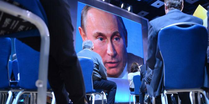 Il Presidente russo Vladimir Putin ha incontrato i giornalisti durante una maxi conferenza stampa a Mosca (Foto: AFP/East News)