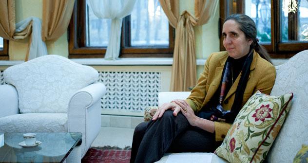 Sabina Zanardi Landi, moglie dell'Ambasciatore italiano a Mosca, nella sua residenza a Villa Berg (Foto: Kirill Lagutko)