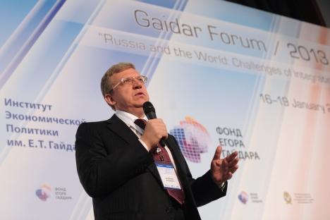 L'ex ministro russo delle Finanze e ora leader del Comitato delle iniziative civili, Alexei Kudrin, al Forum Gaidar ha sottolineato come il Pil russo crescerà non più del 3,5-4% nei prossimi 7 anni in assenza di riforme (Foto: Ria Novosti)