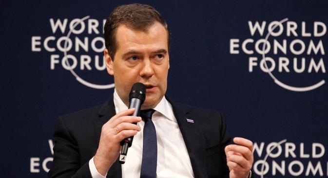 Il premier russo Dmitri Medvedev durante il suo intervento al World Economic Forum di Davos, in Svizzera (Foto: RIA Novosti / Dmitry Astakhov)