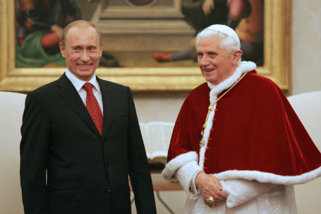 Papa Benedetto XVI durante un incontro con Vladimir Putin, attuale Presidente della Federazione Russa (Foto: Ria Novosti)
