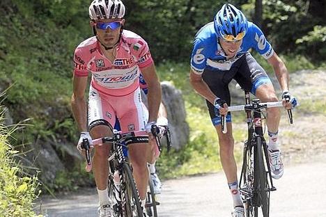 Rodriguez e Hesjedal, 1º e 2º classificati nella penultima tappa del Giro d'Italia 2012 (Foto: GirodItalia/2012)