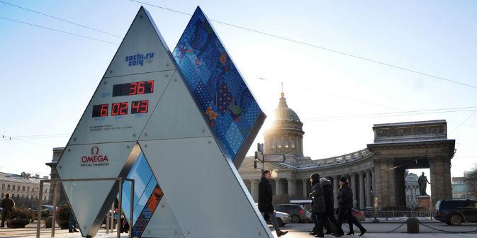 Manca esattamente un anno dall'inizio delle Olimpiadi invernali di Sochi 2014. Per l'occasione a San Pietroburgo è stato installato un orologio che segna il conto alla rovescia (Foto: Corbis / Foto S. A.)