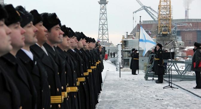"Il battesimo del mare del sottomarino russo ""Yuri Dolgoruki"" (Foto: RIA Novosti / Pavel Kononov)"