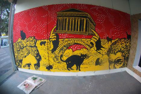 A Roma, in via dei Sabelli 127-133, dopo il Festival Urban Contest 2012, un'opera firmata Zuk Club (Foto: archivio personale)