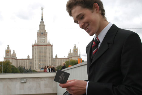 Uno studente dell'Università Statale Lomosov di Mosca (Foto: Tatiana Podoinitsyna/RIA Novosti)