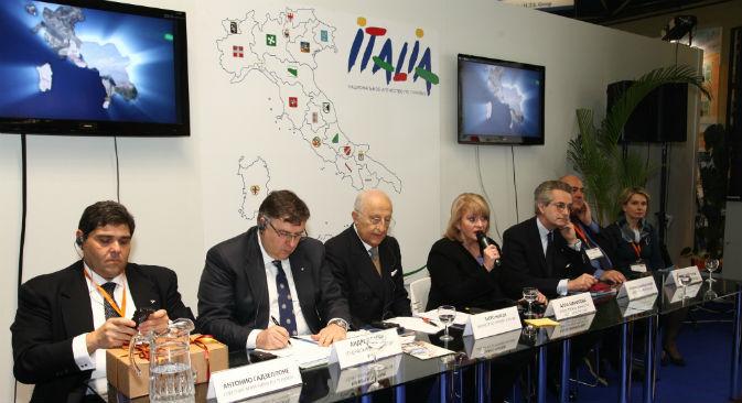 Conferenza stampa di apertura del padiglione Italia alla Fiera Internazionale dei Viaggi e del Turismo di Mosca, Mitt 2013 (Foto: Yuri Lukin)