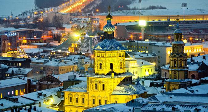 Vista di Kazan. Il suo Cremlino è Patrimonio dell'Umanità dell'Unesco dal 2000.