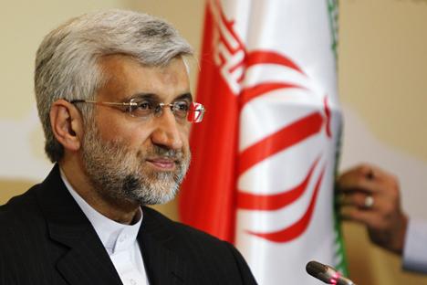 Saeed Jalili, a capo della delegazione iraniana, all'incontro del Sestesso ad Almaty in Kazakhstan (Foto: Reuters)
